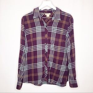 Lucky Brand Purple Plaid Button Up Shirt